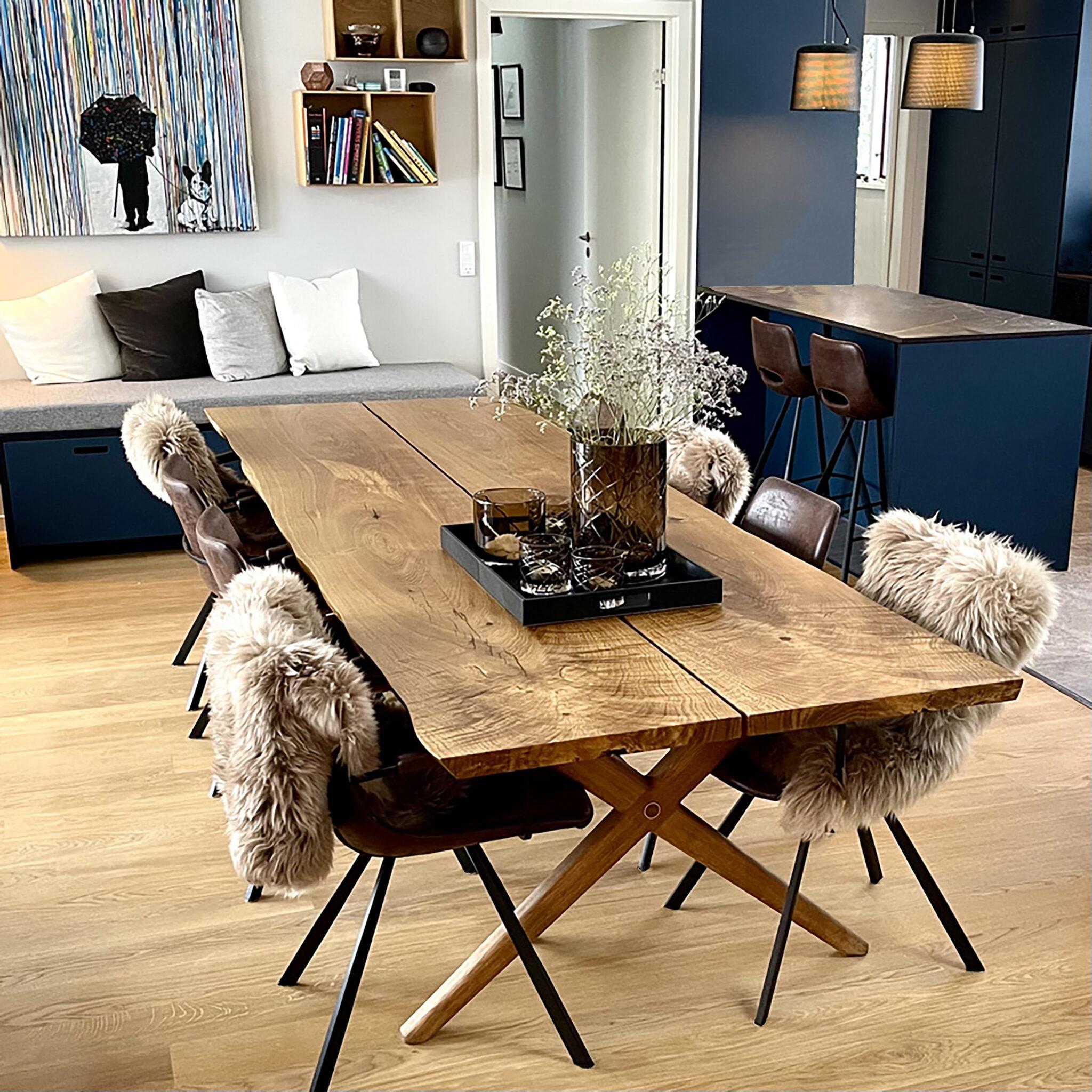 egetræ planker spisebord